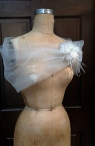 Wedding Off White/diamond White Tulle Shear Shrug Shawl
