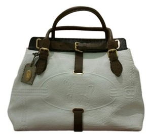 Fendi Satchel in Ivory with blk and brown trim