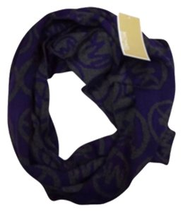 Michael Kors NEW Michael Kors Stamped MK Logo Purple/Charcoal Gray Infinity Scarf - 68