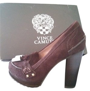 Vince Camuto Oxfords Loafer Heels Brown suede Pumps