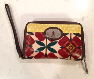 Fossil Coated Canvas Color Wallet Wristlet in Multi