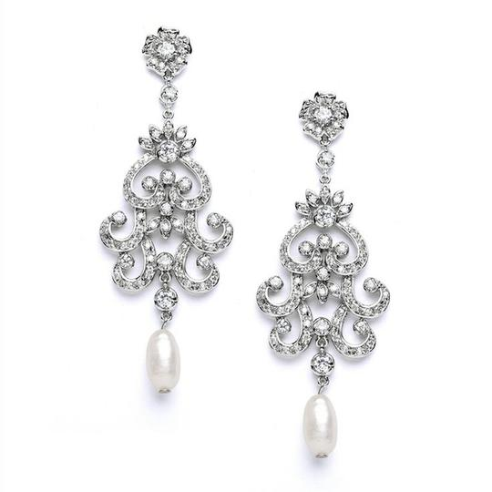 Silver/Rhodium Vintage Glam Crystal Fresh Water Pearl Earrings