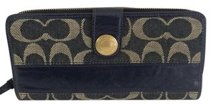 Coach DENIM SNAP ZIP AROUND WALLET BLUE RARE