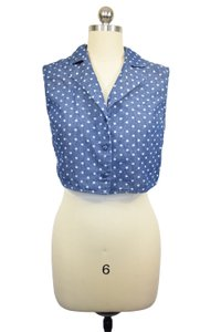 Lucca Couture Crop Denim Polka Dot Top Blue