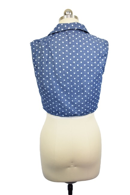Lucca Couture Crop Denim Polka Dot Top Blue Image 3