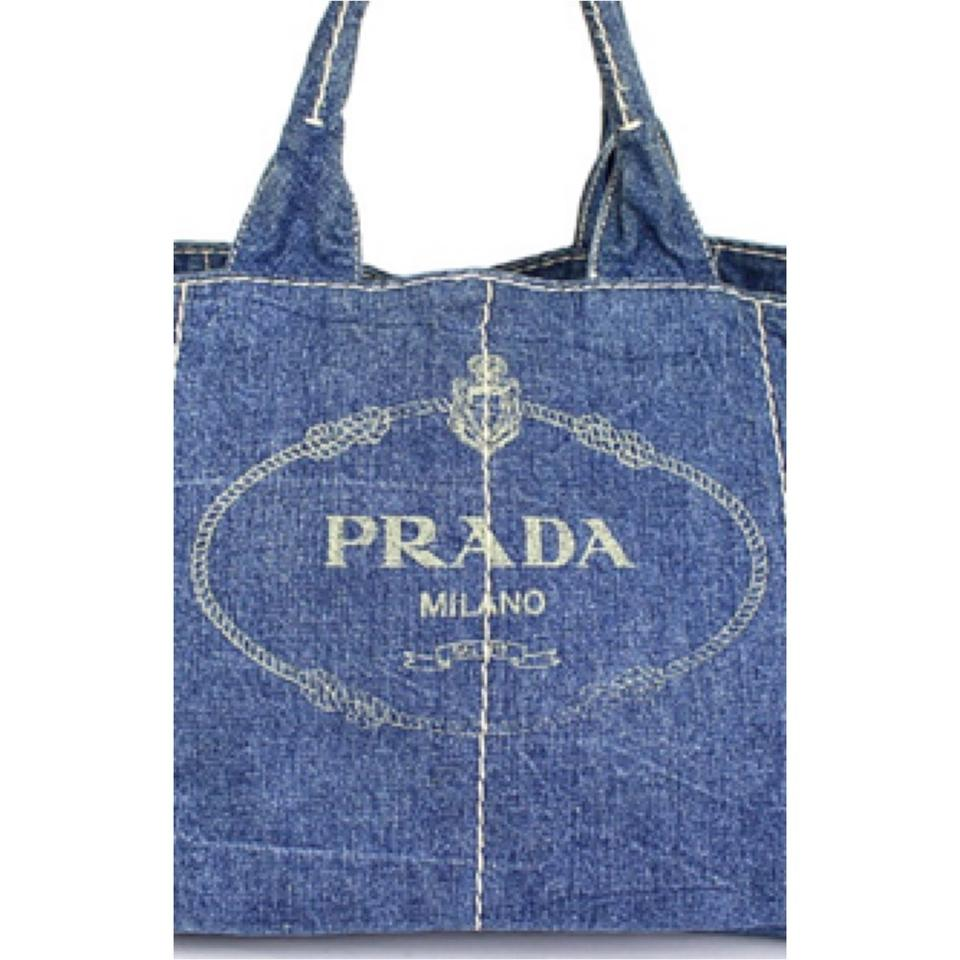 86ace356e26c Prada Gm Canapa Designer Handbags Saffiano Denim Denim Tote in Blue Image  11. 123456789101112