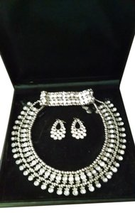 Bel Aire Bridal Goddess Cubic Zirconia Necklace Bib, Earrings, Bracelet Set