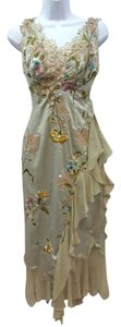 Mandalay Embroidered Lace Applique Silk Dress