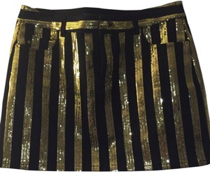 MICHAEL Michael Kors Sequin Sequinned Jean Designer Sale Low Price Mini Skirt Black and Gold
