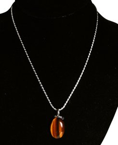 Other Sterling Silver Tiger's Eye Gemstone Necklace 18 in. A125