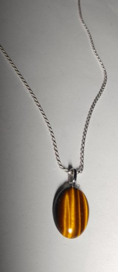 Other Sterling Silver Tiger's Eye Gemstone Necklace 18 in. A125 Image 2