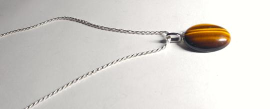 Other Sterling Silver Tiger's Eye Gemstone Necklace 18 in. A125 Image 3