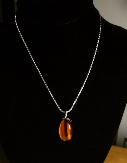 Other Sterling Silver Tiger's Eye Gemstone Necklace 18 in. A125 Image 4