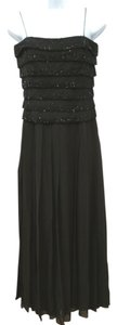 Oleg Cassini Blacktie Spaghetti Strap Embellished Pleated Silk Dress