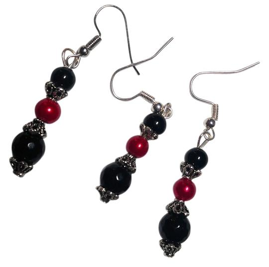 Preload https://img-static.tradesy.com/item/11939728/black-red-pair-with-a-spare-handmade-3-piece-white-onyx-a122-earrings-0-1-540-540.jpg