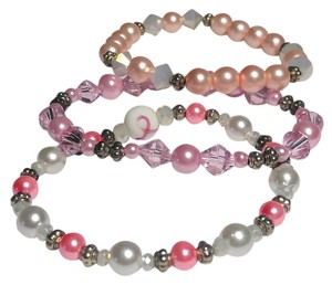3 Piece Stretch Bracelet handmade Pink White B100