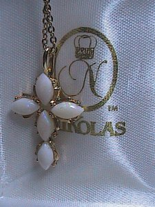 Nicolas Jewelers Ltd. Stunning Fire Opal Crucifix Gold Tone Necklace
