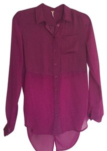 Free People Blouse Button Up Sheer Best Of Both Worlds Magenta Button Down Shirt Fuschia