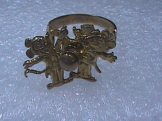 Vintage Collectible The 70's 10k Solid Yellow Gold Movable Mickey Mouse Ring