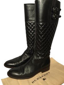 Burberry Leather Quilted Buckle Riding Black Boots