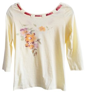 Anthropologie Hand Painted Graphic Floral T Shirt Yellow