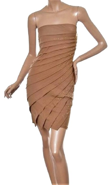 Item - Light Brown Beaded Layered Pull-on / Above Knee Cocktail Dress Size 12 (L)