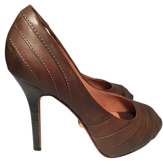 L.A.M.B. Leather Light Brown-Taupe Pumps On Sale, 69% Off