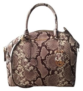 Michael Kors Riley Satchel in Natural Embossed Leather
