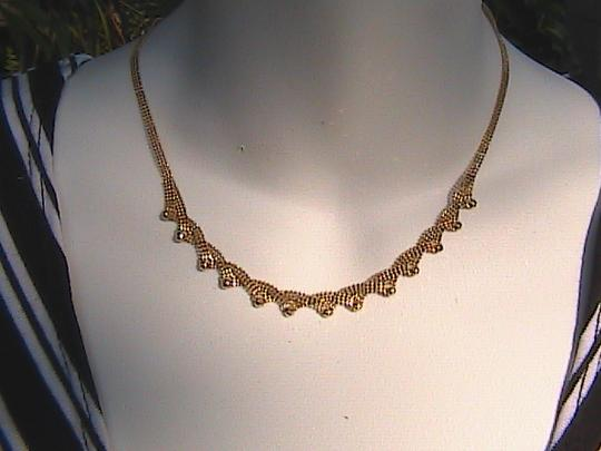 Other 18k Solid Yellow Gold Bib Style Diamond Cut Necklace