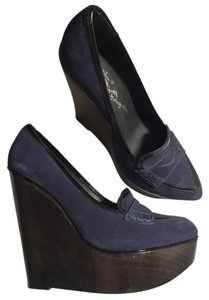 Alice + Olivia Suede Blue Suede Wedges