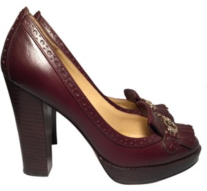 Coach Hidden Platform Fringe Hem Brown Pumps