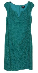 Adrianna Papell Lace Overlay Side Ruch Dress