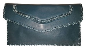 Sondra Roberts Leather Nappa Leather Teal Clutch