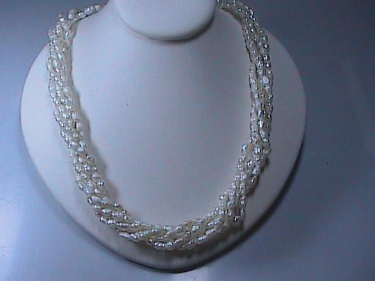 Other 14k Solid Yellow Gold FreshWater 5 Strand Pearl Necklace Image 1