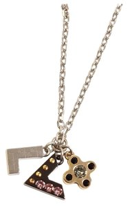 Louis Vuitton Louis Vuitton Love Letters Rhinestones Necklace Gold Tone Metal LV Logo Pendant