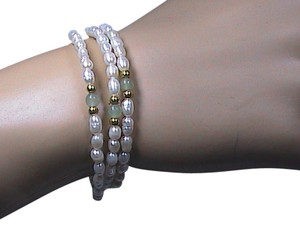 other Brand New FreshWater Pearl & Translucent Green Jade Coil Bracelet