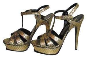 Saint Laurent Gold Python Embossed Sandals