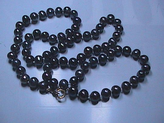 Other 14k Solid Yellow Gold Dark Gray Peacock Cultured FW Pearl Necklace