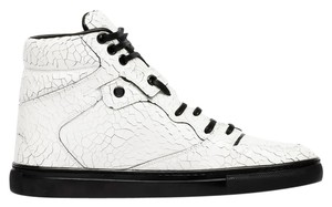 Balenciaga White Crackled Leather Athletic