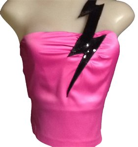 Miss Sixty Top Hott Pink & Black Sequence Lightening