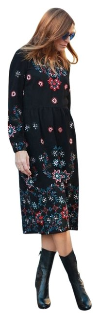 Item - Black Embroidered Long Short Casual Dress Size 0 (XS)