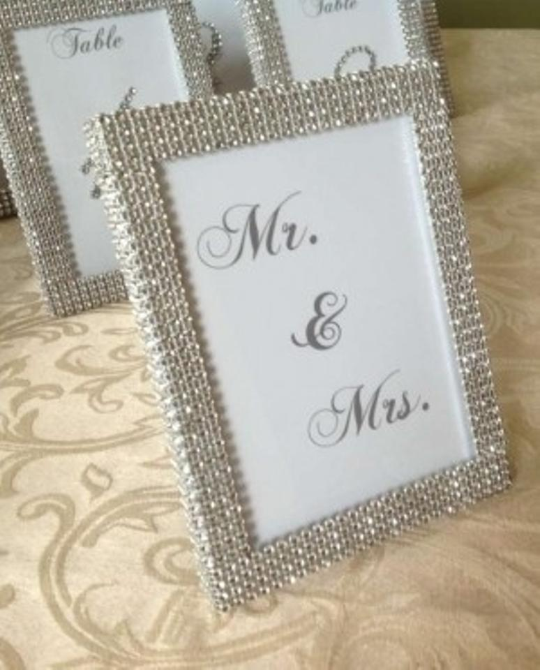 Silver /Grey Set Of (1) 5x7 Rhinestone Frame and (1) Mr and Mrs ...