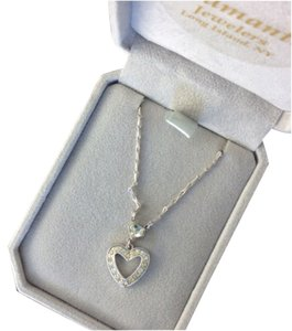 SS ITALY diamonque Sterling Silver Heart Necklace With cubic z