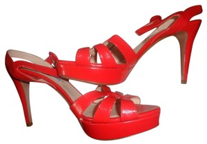 Prada Leather Mismatch Orange/Red Sandals