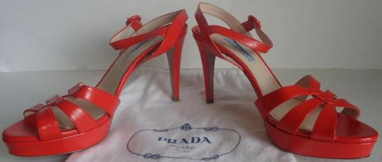 Prada Leather Mismatch Gucci Box 2 Bags Size 8 - 8.5 Orange/Red Sandals