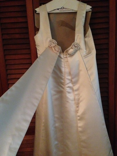Jones New York Ivory Satin Polyester Rn 54050 Modern Wedding Dress Size 14 (L) Image 2