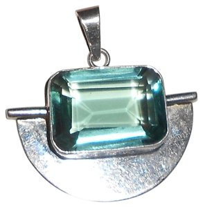 Huge over 2 inch Sterling silver blue stone pendent