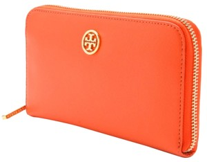 Tory Burch Tory Burch Orange Leather Logo T Continental Zip Wallet New With Tags