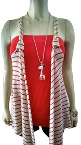 Fang Sleeveless White Striped Open Front P792 Sweater