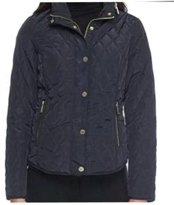 Michael Kors Michael Hidden Hood Navy Quilted Coat